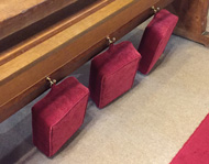 D-rings enable easy storage of church kneeler cushions