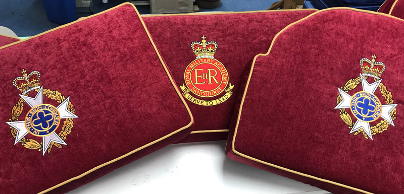 A selection of embroidered Church Cushions commissioned by the Royal Military Acadamy, Sandhurst