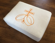 Church hassock cushion with a 'standard' embroidered design