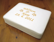 Bespoke wedding embroidered church kneeler